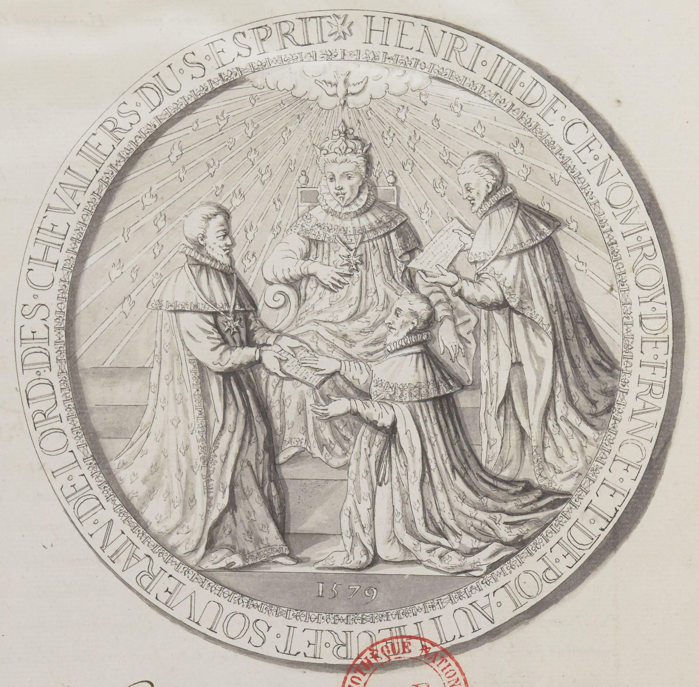 Dessin de la face du sceau de l'Ordre du Saint-Esprit, BnF, Clairambault 1111.